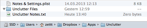 Unclutter's files in Dropbox
