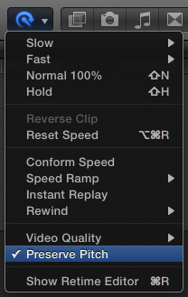 Preserve Pitch when clips play at 100% speed